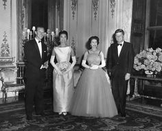 President and Mrs. Kennedy with Queen Elizabeth and Prince Phillip #royalty
