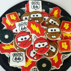 movie cars themed cookies Mater cookies Lightning McQueen cookies Cars cookies Sugar cookies