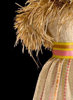 * Sculpture Dress 1980 woven straw and silk satin ribbons Roberto CAPUCCI (1930-)