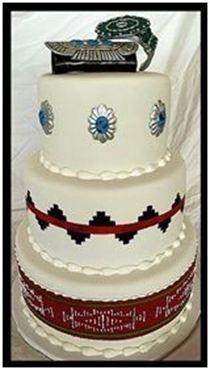 "Sash, Pendent, and Basket cake with bracelets 6""-8""-10"" Rounds Serves 75 $420 Native American Cake, Native American Wedding, Fondant Cakes, Cupcake Cakes, Western Wedding Cakes, Cowboy Cakes, New Cake, Fashion Cakes, Just Cakes"