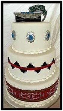 "Sash, Pendent, and Basket cake with bracelets 6""-8""-10"" Rounds   Serves 75   $420"