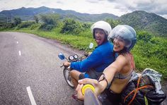 Just a travel couple motorbiking through the beautiful scenery of Vietnam #americanwanderlove