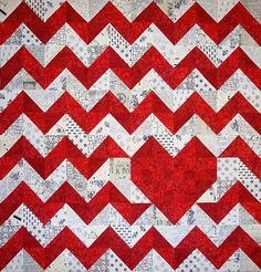 (7) Name: 'Quilting : iHeart Chevrons Quilt Pattern Love
