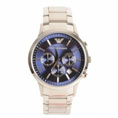 Armani Watches Mens Silver Chrono Blue Dial Round Face Watch 40a30a26113
