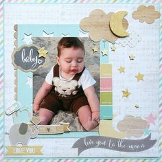 Love you to the Moon **Simple Stories** - Scrapbook.com - Made with Simple Stories Hello Baby collection.