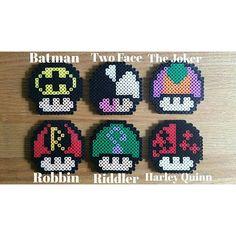 Batman themed mushrooms perler beads by  craftsbycass1995