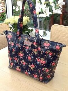 The Cath kidston label is attached to one side and the care labels inside. The bag is a fabulous shape being nice and wide at the base and tapering out to a wider top, the base has a stiffener board. Japanese Couple, Navy Coat, Cath Kidston, Label, Pocket, Shape, Tote Bag, Nice, Shoulder