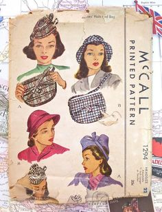 McCall 1294  Vintage 1940s Womens Hats and Purse by Fragolina, $42.00