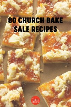 A good old-fashioned church bake sale is hard to beat. These heavenly cookies, bars, breads and pies will inspire you to bake up a few batches of the delicious money-makers at home. Bake Sale Treats, Bake Sale Recipes, Bar Recipes, Cookie Recipes, Dessert Recipes, Desserts, Strawberry Oatmeal, Pecan Pie Bars, Money Makers