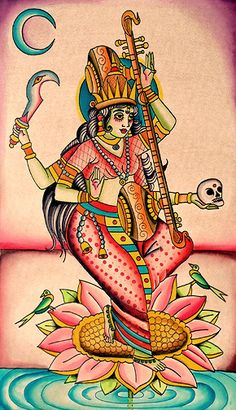 MATANGI - Tantric form of Saraswati seated at the 5th chakra at the psychic center in the throat. Matangi gives the power creativity, music and knowledge of the fine arts.  She removes all disharmony and brings wisdom. - Robert Ryan 2013