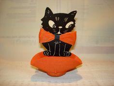 Vintage Halloween Ephemera ~ Black Cat Nut Cup