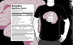 Brains…  They're a zombie's favorite treat.  The only problem is they go straight to your hips!  What's a health conscious walker to do?    Fear not dieters of the undead.  There's now a shirt that provides all the nutritional information you need to count those calories while still being able to indulge in the occasional cerebellum.