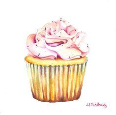 """Bon Gâteau Rose"" My latest watercolor cupcake - sweet."