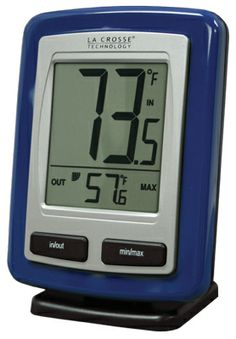 "WIRELESS WEATHER STATION THERMOMETER BY LACROSSE WS-9009B-IT  IN Temp (°F) OUT Temp (°F) MIN & MAX Temp Also available in:  Black: WS-9009BK-IT  Dimensions: Receiver: 3.27"" x 4.33"" x 1.14"" Sensor: 3.41"" x 0.55"" x 1.27  All Features:                Large Easy to Read Display Wireless Outdoor Temperature (°F) Monitors Indoor Temperature (°F) Records MIN & MAX Temperature Low Battery Indicator Wall Hanging or Free Standing"