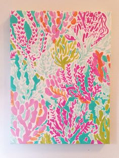 I wonder if I can paint something like this when I update Mackenzies room to a beach theme - Amazingly DIY Lily Pulitzer Painting, Lilly Pulitzer Prints, Diy Canvas, Canvas Wall Art, Mermaid Room, Craft Night, Minnie, Beach Themes, Painting Inspiration