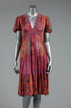 Ossie Clark for Radley printed chiffon summer dress, mid 1970s