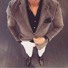 White jeans, navy polo, brown grey shift shouldered blazer, navy p square, weekend, casual Friday
