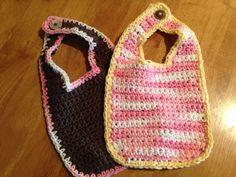 Crochet Baby Boy or Girl Bibs Set of 2 by CogarCrochet on Etsy, $10.00