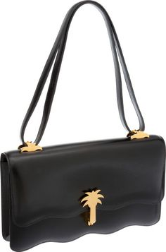 Hermes 26cm Black Calf Box Leather Sac Palmier Bag with Gold Hardware