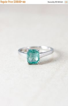 LABOR DAY SALE Silver Aqua Blue Tourmaline Ring  by OhKuol on Etsy