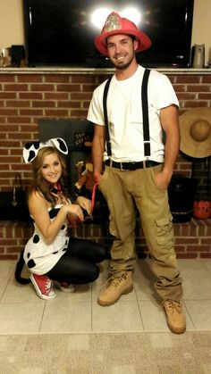 Halloween firefighter and Dalmatian