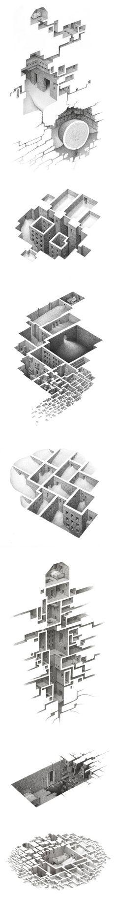 Art by Mathew Borrett / art / drawing / abstract / via: http://www.booooooom.com