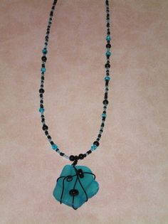 """Wrapped """"sea glass"""" necklace"""