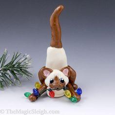 Siamese Cat Ornament Christmas Lights Porcelain