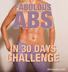 Get Fabulous Abs in 30 days with this challenge! This core strengthening workout will give you flat, toned, defined abs for the long haul! #skinnyms #abworkouts #abexercises #tonedabs #fitness #exercice