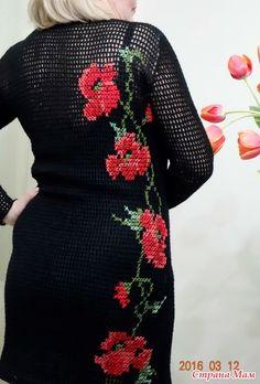 """"""" Маки """" - платье филейной сеткой и вышивкой"""