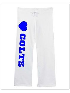 "Womens Colts Sweatpants White Size Small by Mixapparelusa. $32.00. 100% pre-shrunk combed ring-spun cotton. Bella. Coverstitched drawstring waistband, straight wide open bottom leg. Size small (inseam 31.5"" waist 17"" relaxed). 7.5 ounce. A perfect pair of sweatpants for the female sports fan. A super quality and very comfortable product sold by us Mixapparelusa."