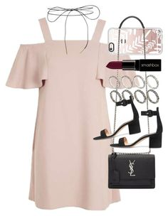 """""""Outfit for prom with a nude dress"""" by ferned ❤ liked on Polyvore featuring Topshop, Casetify, Yves Saint Laurent, ASOS, Lilou, Gianvito Rossi and Smashbox"""