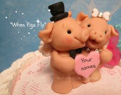 Adorable When Pigs Fly Cake Topper Funny, Cute, Quirky, Unique Personalized Wedding Cake Topper / Bridal Shower Keepsake on Etsy, $78.00