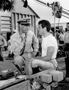 """Cary Grant and Tony Curtis on the set of """"Operation Petticoat"""" (1959)"""