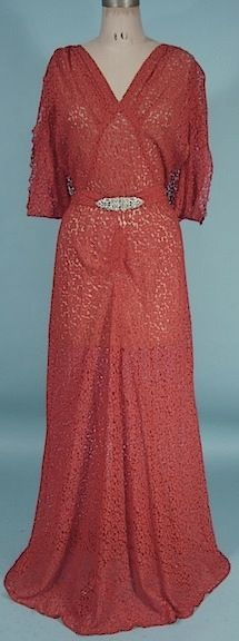 c. 1930's Cranberry Red Lace Gown with Rhinestone Belt and Circle