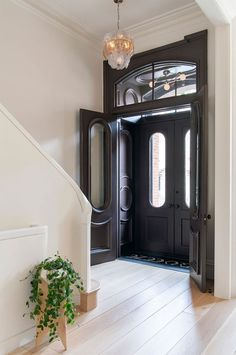 home Entrance Entryway - Elizabeth Roberts Splashes a Brooklyn Family Home with Sunlight Home Interior Design, Interior Architecture, Interior And Exterior, Exterior Stairs, Townhouse Interior, Brownstone Interiors, Georgian Interiors, London Townhouse, House Entrance