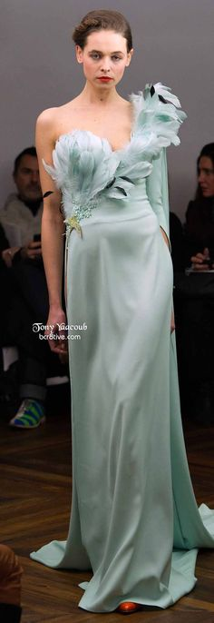 Tony Yaacoub Couture Spring 2014   mint green one-shoulder gown with feather applique