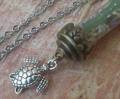 "Sea Turtle Sea Glass Jewelry Necklace 24"" Vial Sand Bright Green Hawaiian Bronze #Handmade #Pendant"