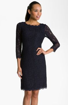 Adrianna Papell Long Sleeve Lace Sheath Dress (Regular & Petite) | Nordstrom