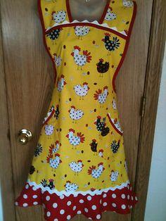 Handmade Retro Vintage Style Plus Bib Apron Chicken Rooster Print Yellow Red Blk