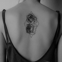 #tattoo #back #blackandwhite #backtattoo #rose #rosetattoo #black #ink…