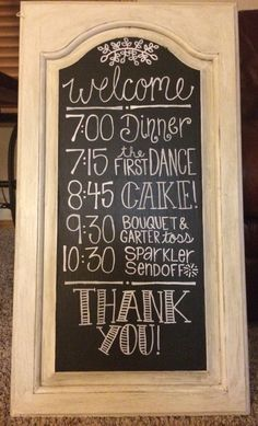 Wedding Chalkboard, Wedding Schedule, Reception Events