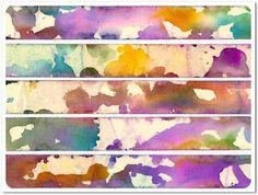 Faux watercolour washi tape (masking tape, alcohol inks & blending solution)