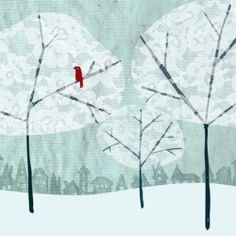 Cardinal bird in Winter trees made with lace