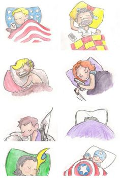 "Super Cute ""Avengers"" Fan Art the rollers in thor head LOL"