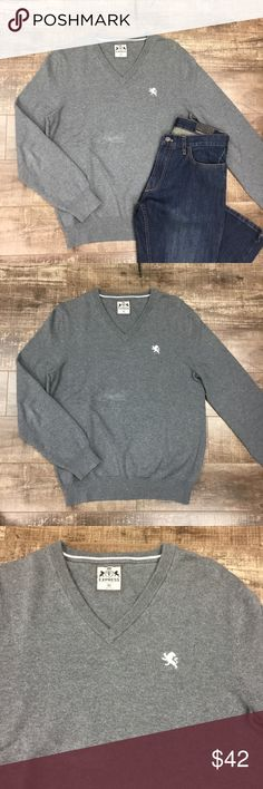 Men's V-Neck Grey Sweater 100% cotton. Thick knit. Relaxed fit. No trades. Save 10% by bundling 2 or more regular priced items. Express Sweaters V-Neck