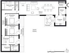 House Plans 3 Bedroom, Dream House Plans, Modern House Plans, Small House Plans, L Shaped House Plans, U Shaped Houses, Bungalow Floor Plans, House Floor Plans, House Layout Plans