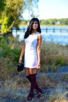 Burgundy OTK Boots and Tobi White Dress - Zunera & Serena Burgundy Boots, Batman Party, Brunette Girl, Sexy Heels, Nordstrom Dresses, Over The Knee Boots, Fashion Dresses, White Dress, Style Inspiration