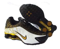 2014 Nike Shox R4 Shoes Womens Black White Gold 787925