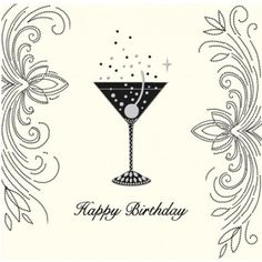 Happy birthday card champagne